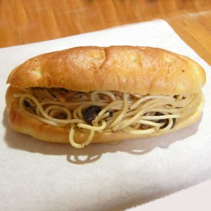 和風きのこスパゲッティのフォカッチャサンド